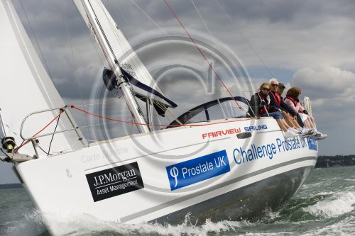 Prostate UK Charity Challenge boat in action at this year's JPMorgan Asset Management Round the Island Race.