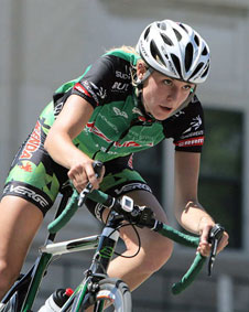 Womens Cycling-Team Kenda-Ashley James, 2009 USA Cycling U23 Women Cyclocross Champion in race mode.