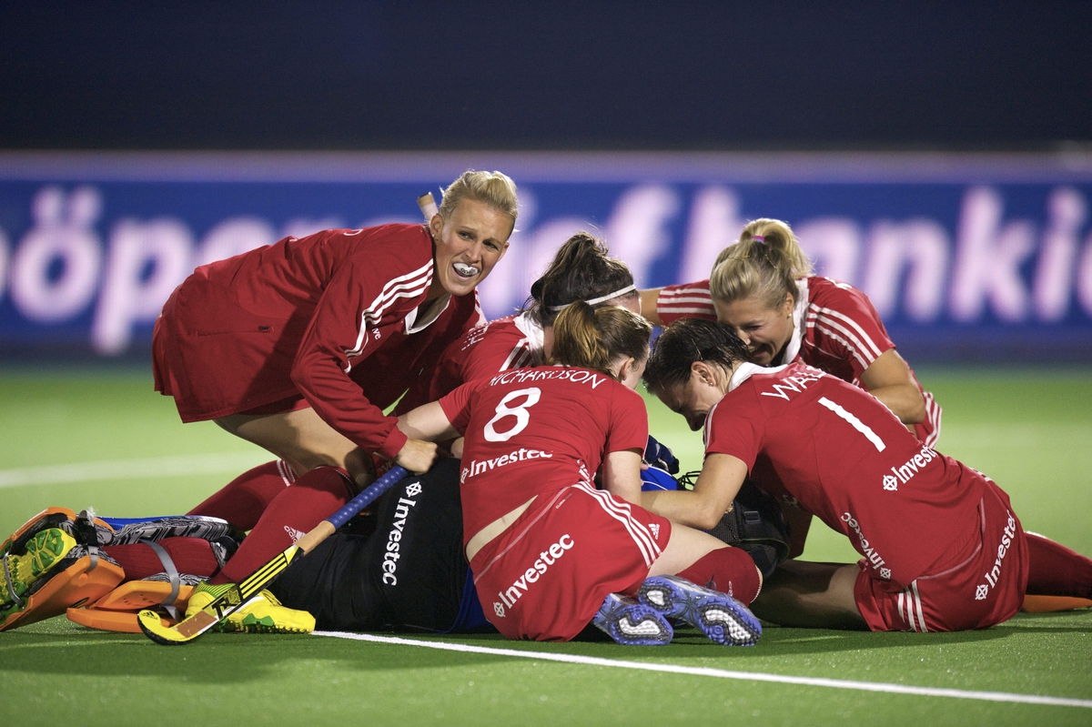 England women celebrate theirplace in the 2013 EuroHockey Championship Final after beating the Dutch ina penalty shoot out.jpg