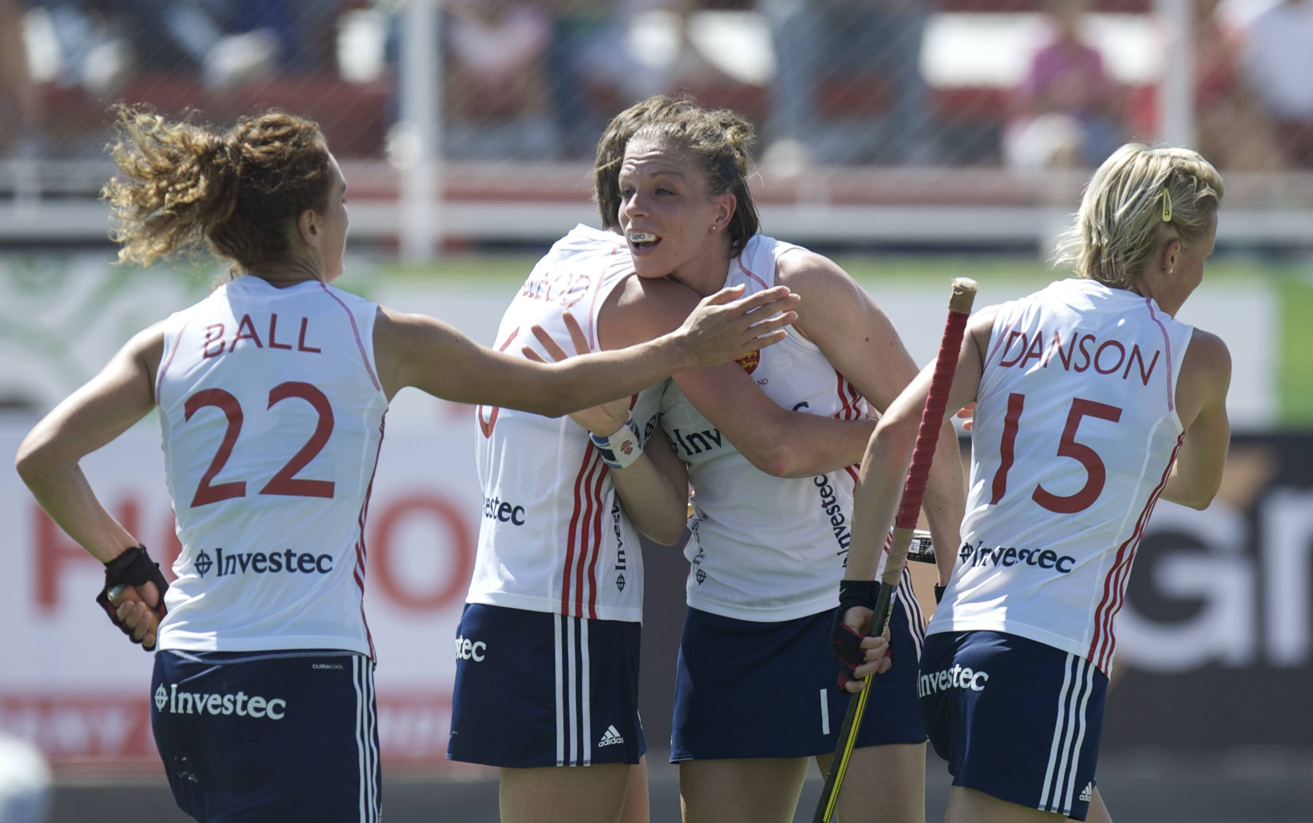 Kate Walsh celebrates scoring for England against Korea at the Argentina World League Final.jpg