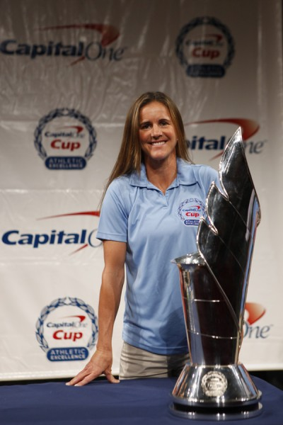 Brandi Chastain speaks about her ambassadorship at the Capital One Cup