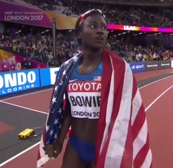 Women sport news - Bowie wins first major title taking the 100m final in london