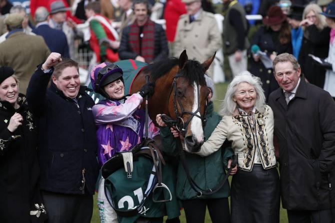 Bridget Andrews wins the County Hurdle in Cheltenham
