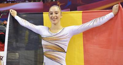 Women sport news - Belgium's Derwael reacts after uneven bars final